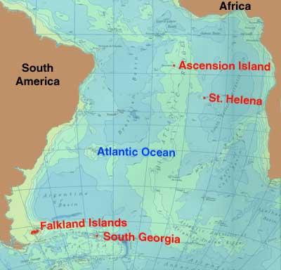 Map St Helena Island South Atlantic Ocean